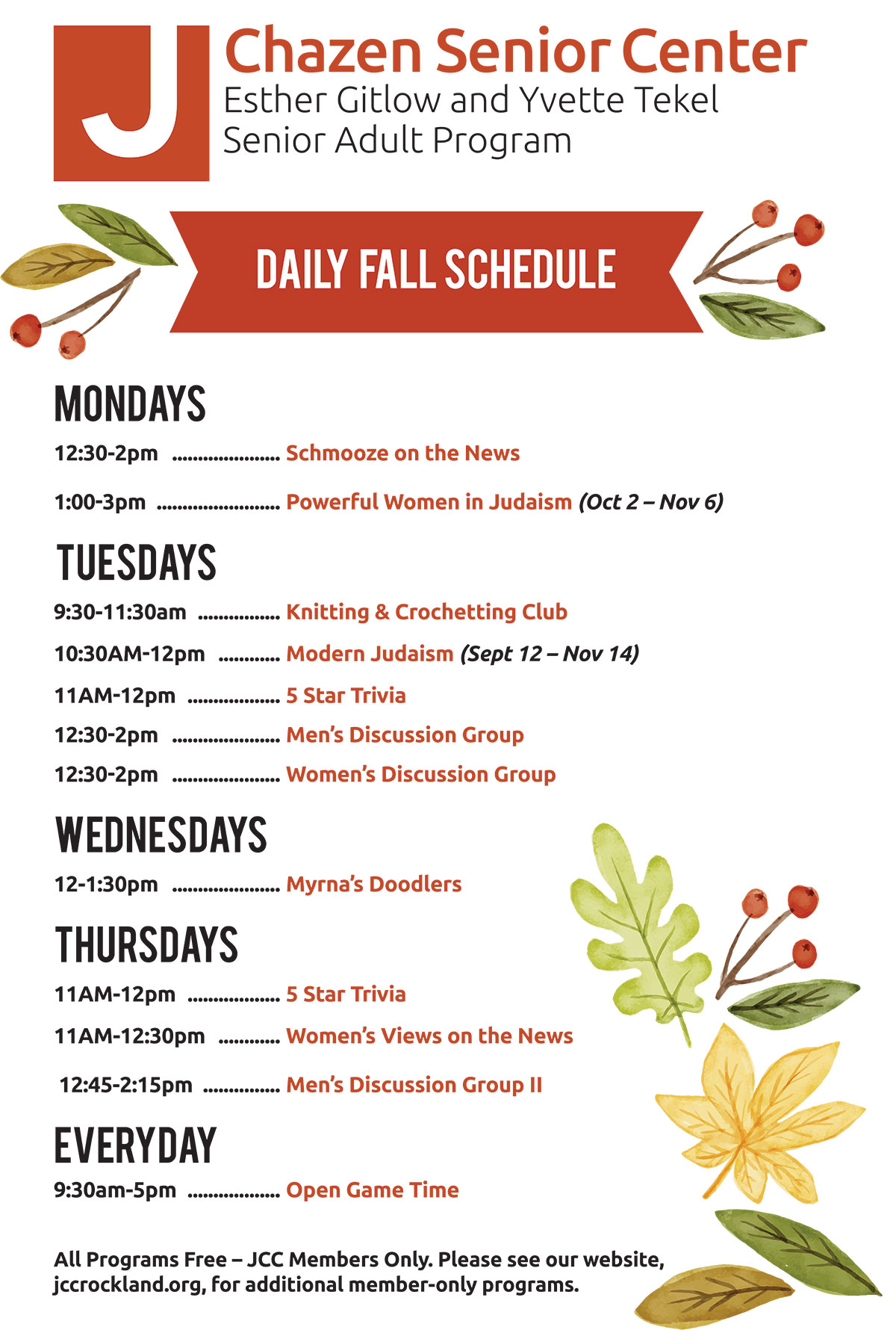 JCC Rockland Senior Adult Program Daily Fall Schedule 2017