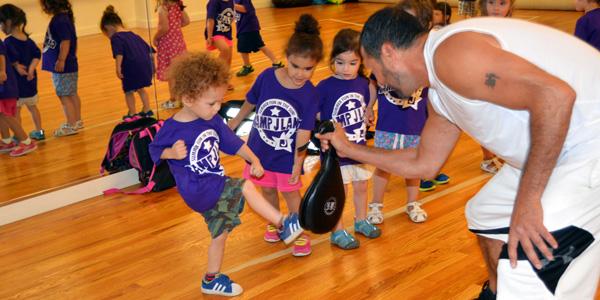 Martin Calzadilla teaching kickboxing to Camp JLand kids at JCC Rockland