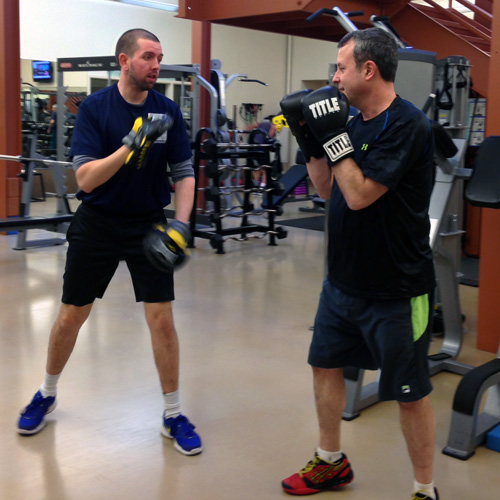 Boxing with a personal trainer